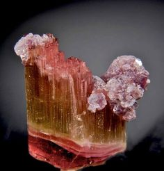 Elbaite with dozens of fibrous terminations with purple Lepidolite from Himalaya Mine, California