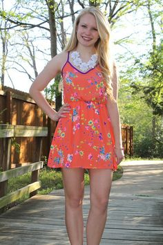 Pin Now. Neon LOVE!!! Obsessed with this look. http://www.sidelinesass.com/products/blocked-back-dress $31.00 and free shipping. #fashionfind #summerdress #sundress #floralprint