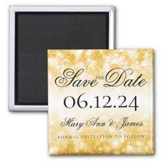 Wedding Save The Date Gold Shimmer Lights Magnet - glitter glamour brilliance sparkle design idea diy elegant