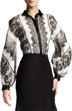 Love this: Lace Striped Blouse @Lyst