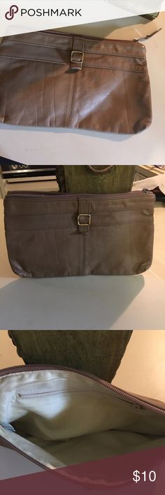 Genuine leather Italian clutch Cute genuine leather Italian clutch. Tan. Had for some time. Still in great condition Bags Clutches & Wristlets