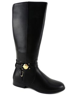 Tommy Hilfiger Women's Terese Wide Calf Riding Boots Black Size 8.5 (B, M) #TommyHilfiger #RidingEquestrian #RidingDressCasual