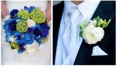 blue hydrangea, blue anemone, David Austin Patience garden roses, bright green viburnum, white ranunculus, and purple sweet peas.  Danny's boutonniere featured white ranunculus, green hellebore and white freesia