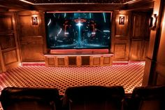 LED accent lights and a fiber-optic star ceiling help distinguish this theater.