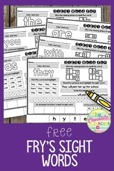 Are you looking for some fun worksheets to give your first grade students practice with Fry's sight words? These free printables are perfect for a kindergarten or first grade classroom. Each page has several activities for your students to complete. Sight Words Printables, Sight Word Worksheets, Sight Word Activities, Fun Worksheets, Free Printables, Kindergarten Sight Words Printable, Preschool Sight Words, Reading Activities, High Frequency Words Kindergarten
