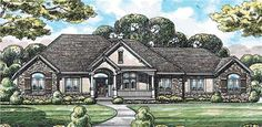 This single story 2641 square foot total living area house plan has the best of both worlds when it comes to style. This House Plan combines the old world feel of French Home Design, and the down-home style of a Country/Ranch Home Design and combines them beautifully. The large Family Room is a center of warmth with its glowing fireplace, and the adjoining kitchen and snackbar will be sure to draw a crowd. If you're looking for privacy, you'll love the den with its built-in bookshelves …