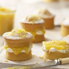 Mini Lemon Curd Sponge Cakes  - I will be baking these in the darling little cake tins I just ordered :)