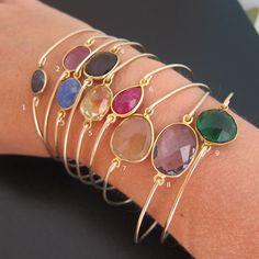 Select a Gemstone Bangle Bracelet Gemstone di FrostedWillow