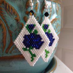 Floral beaded delica earrings