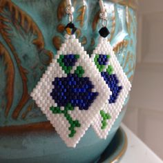 Floral beaded delica earrings