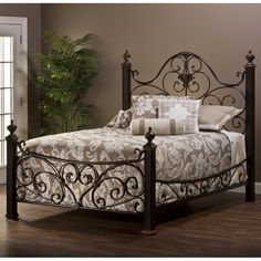 Mikelson Mixed Wood & Iron Bed by Hillsdale Furniture | Wrought Iron Mixed Media Wooden Metal Headboard Footboard Frame Complete Bed