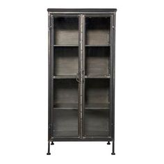 This cabinet is sturdy, functional, has a handy size and a pure appearance! This cabinet fits easily in each interior and it has 4 large storage shelves behind the glass doors. The cabinet is made of black metal and is intentionally not completel Cheap Furniture, Furniture Making, Luxury Furniture, Home Furniture, Painted Furniture, Vintage Vitrine, Storage Shelves, Locker Storage, Shelving Units