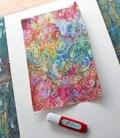 Patterned Paper Tutorial: Now I am going to show you one of the easiest way I know to make really rich and colorful paper. Besides the paper, you will need watercolors, marker pens, gel pens and colored pencils, correction pen and relaxed mind. Don't worry about the mess you make, it will look lovely in the end!