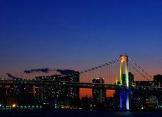 夜景 ビル レインボーブリッジ 橋 景色 night view bill rainbow bridge