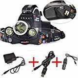 KAZOKU RJ-5000 3x CREE XM-L T6 LED Headlamp Headlight for Camping Hiking with AC Adapter USB Charger Car Charger(Batteries not included) by Boruit