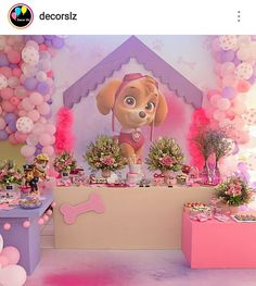 Pink Paw Patrol Birthday Party Dessert Table and Decor