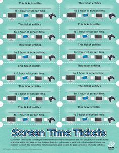Afraid your kids are going to spend the rest of their lives planted in front of a TV screen or computer screen? Our Screen Time Tickets can help prevent screen time from becoming all the time. An actual printable for what we do at home anyway. Chores For Kids, Activities For Kids, Bonding Activities, Screen Time Tracker, Kids And Parenting, Parenting Hacks, Behavior Management, Behavior Contract, Time Management