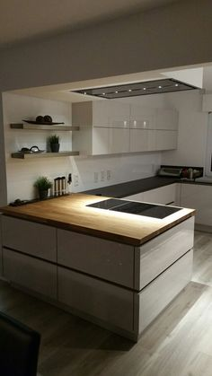 Nobilia Lux silk gray with Ikea Skogarp oak worktop, # oak worktop . - Nobilia Lux silk gray with Ikea Skogarp oak worktop, - Kitchen Room Design, Rustic Kitchen Design, Shabby Chic Kitchen, Home Decor Kitchen, Interior Design Kitchen, Kitchen Furniture, Home Kitchens, Kitchen Ideas, Diy Interior