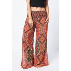 Fall Orange Print Pants
