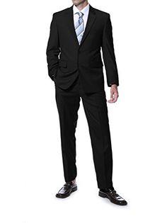 40S Mens Carlo Black Regular Fit 2pc Suit