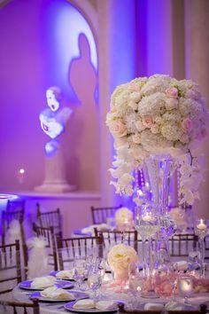 Glamorous Pink & White Centerpiece | KLK Photography