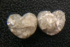 2 pcs Pair Grey White Rough Diamond Heart Grey by gemsforjewels