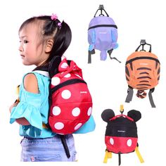 Das crianças das crianças pré-escolar dos desenhos animados com cordão animais hipocampo saco anti perdido mochilas troddler para crianças bebê mochila arnes bebe