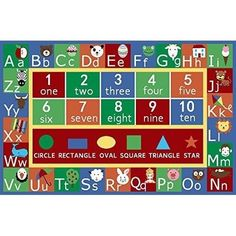 Educational Rug For Kids & Alphabet, Letter Numbers Non Skid Area Rug Rectangle #worldwidemark3tKidsRug