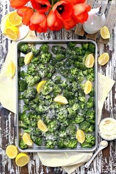 YUMMY - Roasted Lemon Parmesan Broccoli (SO SO SO GOOD!! This was like eating candy!!)