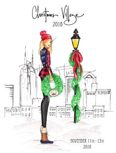 We rarely have them here, but we can still dream about a white Christmas in Nashville! Fashion Sketches, Art Sketches, Fashion Illustrations, Christmas In Nashville, Christmas Illustration, Illustration Art, Village Girl, Christmas Drawing, Creating A Brand