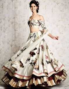 71 Mind-Boggling Lehenga Designs That Will Make Your Day off-white printed layered lehenga choli Choli Designs, Lehenga Designs, Indian Lehenga, Lehenga Choli, Anarkali, Floral Lehenga, Patiala Salwar, Sabyasachi, Indian Wedding Outfits