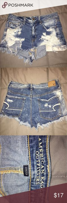 AE hi-rise shortie American Eagle Hi-Rise shorties. Size 8. Still in good & sexy condition ;) American Eagle Outfitters Shorts