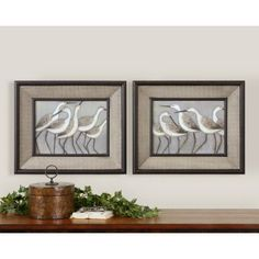 """<span style=""""font-weight: bold;"""">Realistic Looking Shore Birds</span>on prints are accented by frames with a black satin outer and inner decorative lip. Center portion of frames have a rattan textured taupe colored base with a brown and black wash. <br /><br /> Includes set of 2 Framed Shore Birds Wall Art<br /> Designer: Grace Feyock <br />..."""