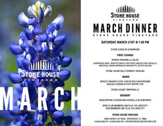 The coming of spring has us feeling energized. We're ready for new growth and warmer days! Celebrate with us on March 21st with three, chef-prepared courses paired with our award-winning wines. Make your reservations soon! #txwine #wine #winerydinner #spring #march