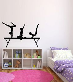 Custom Gymnastics Name Wall Decals Girls Kids Room Decor - Custom name vinyl wall decals   how to remove