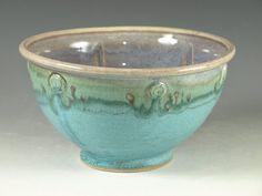 Stoneware pottery bowl   turquoise aqua handmade by Hodakapottery, $26.00