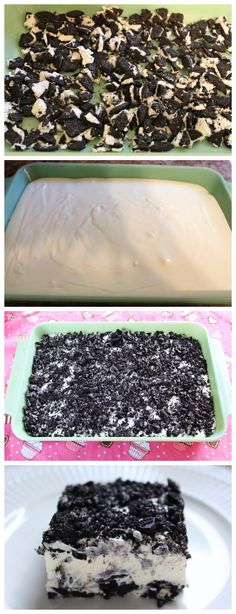 PERFECT OREO DESSERT Need: 1 package Oreos; One 8 oz pkg cream cheese, softened; One 8 oz container of Cool Whip; 3 c. 1 c. Use gluten free Oreo type cookies. Oreo Dessert Recipes, Delicious Desserts, Yummy Food, Tasty, Cake Recipes, Dessert Food, Dessert Bars, Oreo Dessert Easy, Dirt Dessert