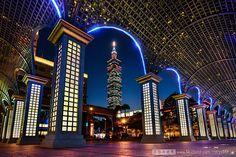 Taipei 101 building in the background on Christmas night in Taipei, Taiwan.