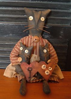 PriMitiVe CatKit and Kaboodle Cat Doll Set by BlueMooNBegiNNiNgs, $34.00