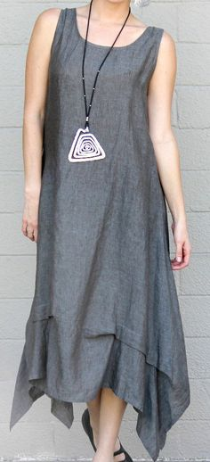 CHALET USA Flax Hanky Linen ALIYAH TUCKED LONG DRESS Lagenlook 1X  2X  VINTAGE #CHALET #Dress #Casual