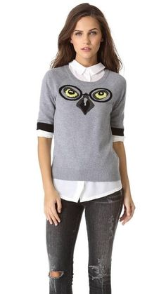 Milly June Knits Winston Intarsia Owl Sweater X-small P 0 2 Nwot Top Gray #Milly #ScoopNeck