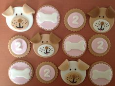 Edible Fondant Puppy Dog and Bone Girl  Birthday Cupcake Toppers - Set of 12