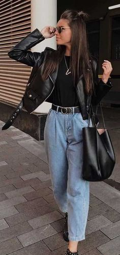 spring outfit what to wear in spring, checked blazer , spring outfit ideas denim and leather jackets, denim outfits Cute Fall Outfits, Stylish Outfits, Spring Outfits, Cool Outfits, Spring Wear, Leather Jacket Outfits, Denim Outfits, Leather Jackets, Biker Jacket Outfit Women