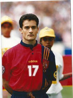 Juan Manjarín antes del Inglaterra-España de la Eurocopa de 1996.