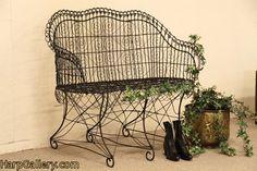 Antique Victorian garden bench. #wire