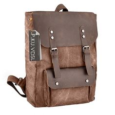 Travel Log Canvas City Backpack Genuine Leather 15.6 Laptop School Bag Travel Backpack