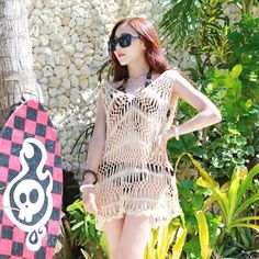 Fashion New Korean Style Women V-neck Woven Hollow-out Dress Beach Cover-up