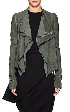 Rick Owens Draped-Front Blistered Leather Biker Jacket In Sage Stylish Jackets, Cool Jackets, Biker Jackets, Outerwear Jackets, Leather Jackets, Space Fashion, Punk Fashion, Lolita Fashion, Rick Owens Women