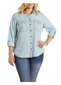 Plus Size Chambray Button-Up Shirt