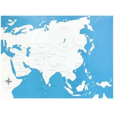 Lámina de control con el mapa de Asia con los nombres de los países en inglés. Este material de lametodología Montessori,es perfecto para que los niños aprendan los nombres de los diferentes países del continente asiático,así como la forma que tienen y la ubicación donde se encuentran. Ideal para usar junto con el puzle de madera del continente de Asia, que se vende por separado. Edad recomendada: a partir de 3 años. Medidas:  Largo: 53,5 cm. Ancho: 41 cm.